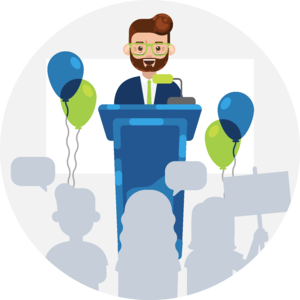 Illustration of a high profile speaker standing at a podium with balloons and crowd in background.