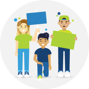 Illustration of 3 students protesting