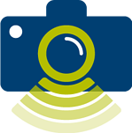 Camera with sonar waves to indicate a snapshot